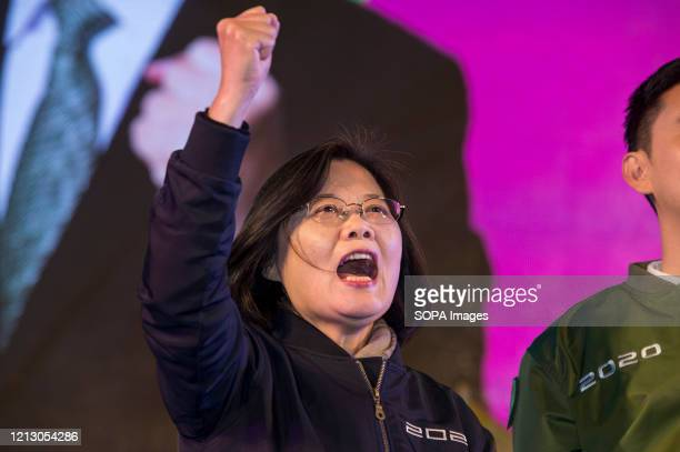 Taiwanese President, Tsai Ing Wen on stage during an election campaign. President Tsai Ing-wen of the ruling Democratic Progressive Party , continues...
