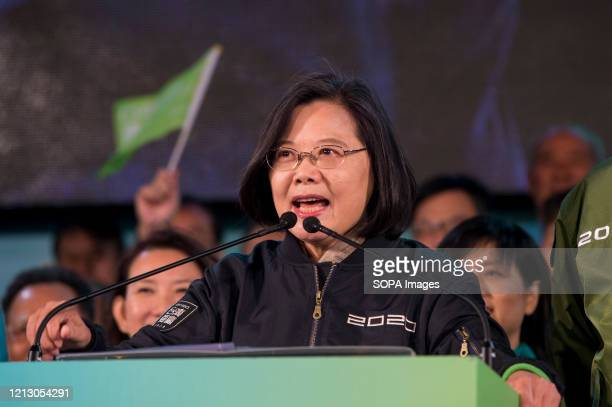 Taiwanese President, Tsai Ing Wen on stage speaking during an election campaign. President Tsai Ing-wen of the ruling Democratic Progressive Party ,...