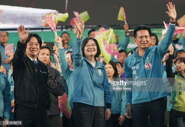 Taiwanese President Tsai Ingwen of the Democratic Progressive Party attends a campaign rally in Tainan on Jan 5 ahead of presidential and legislative...