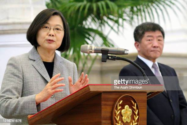Taiwanese President Tsai Ing-wen speaks during a press conference on April 1, 2020 in Taipei, Taiwan. Tsai announces to send 10 million masks to the...