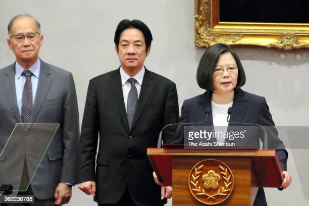 Taiwanese President Tsai Ingwen speaks during a press conference announcing Burkina Faso cut the diplomatic relations with Taiwan on May 24 2018 in...