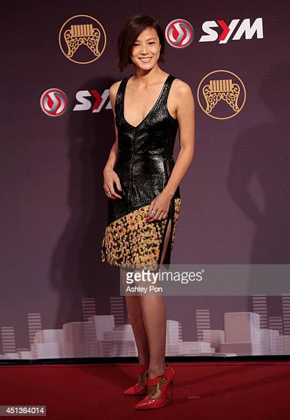 Taiwanese singer Denise Ho arrives at the 25th Golden Melody Awards in Taipei Taiwan Saturday June 28 2014 Denise is nominated as Best Female...