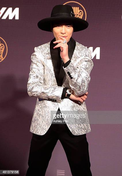 Taiwanese singer Jam Hsiao arrives at the 25th Golden Melody Awards on June 28 2014 in Taipei Taiwan