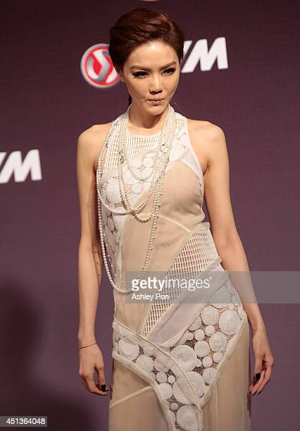 Taiwanese singer Jeannie Hsieh arrives at the 25th Golden Melody Awards in Taipei Taiwan Saturday June 28 2014 Jeannie is nominated as Best Song of...