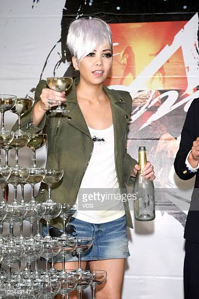 Taiwanese singer Sherry attends the celebration reception during the 21st Taiwan Golden Melody Award on June 26 2010 in Taibei Taiwan of China