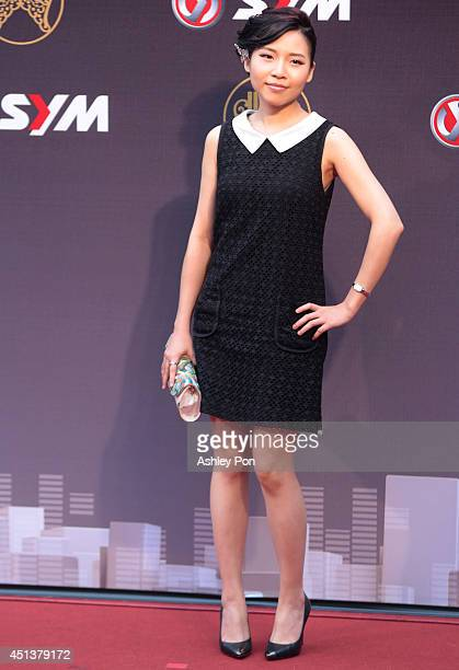 Taiwanese singer Tzeng Yachun arrives at the 25th Golden Melody Awards on June 28 2014 in Taipei Taiwan Tzeng is nominated as Best Hakka Singer and...