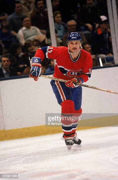 Taiwaneseborn American professional hockey player Rod Langway defenseman for the Montreal Canadiens skates on the ice during a road game early 1980s