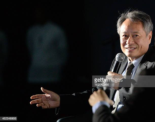 Taiwaneseborn and Oscarwinning film director Ang Lee gestures as he speaks at an open forum during a screening for his film The Life of Pi at a...