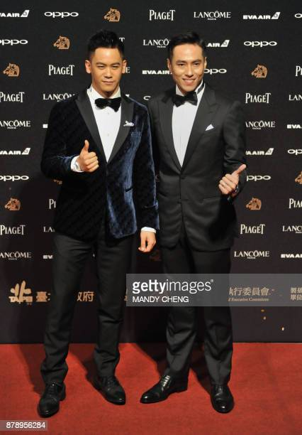 TaiwaneseUS actor Mason Lee poses with Taiwanese actor Kaiser Chuang Kaihsun on the red carpet at Taiwan's 54th Golden Horse film awards dubbed the...