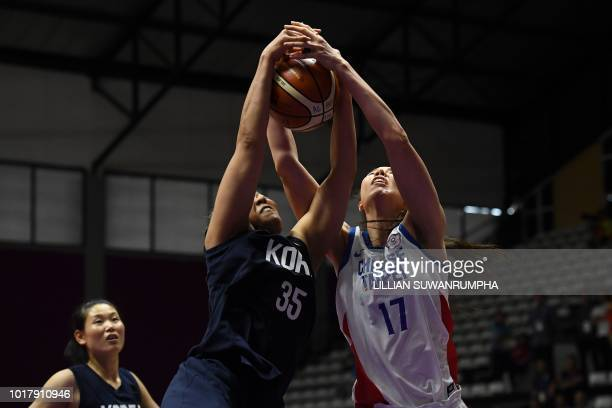 Taiwan's Bao Hsile grapples for the ball with Unified Korea's Kim Hanbyul in the women's basketball preliminary group A match between Taiwan and...