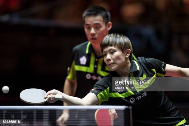 Taiwan's ChienAn Chen and IChing Cheng in action during Mixed Doubles Finals at Table Tennis World Championship at Messe Duesseldorf on June 3 2017...