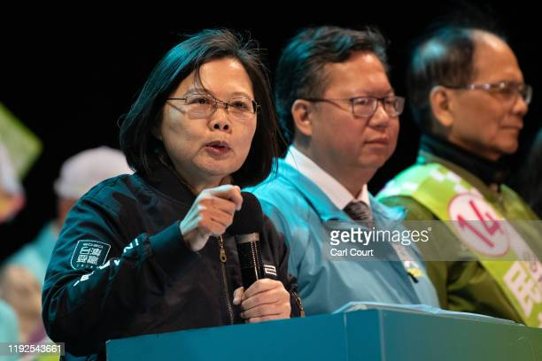 Taiwan's current president and Democratic Progressive Party presidential candidate, Tsai Ing-wen, speaks during a rally ahead of Saturdays...