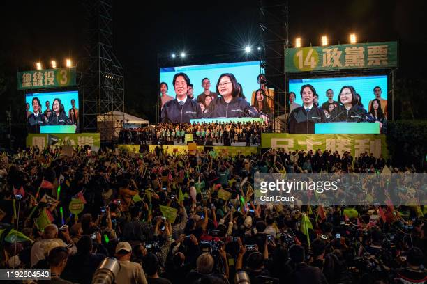 Taiwan's current president and Democratic Progressive Party presidential candidate, Tsai Ing-wen speaks during a rally ahead of Saturday's...