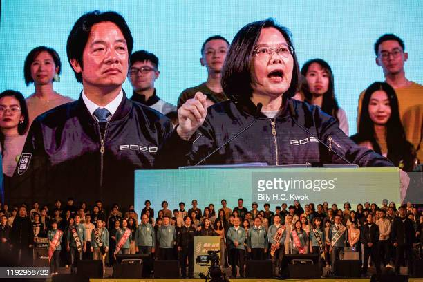 Taiwan's current president and Democratic Progressive Party presidential candidate, Tsai Ing-wen, speaks during a rally ahead of Saturday's...