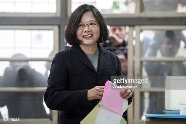 Taiwan's Democratic Progressive Party presidential candidate Tsai Ing-wen casts her vote for presidential elections in New Taipei City, Taiwan on...