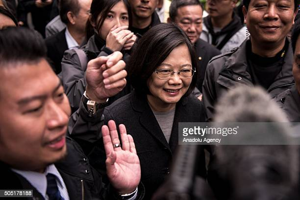 Taiwan's Democratic Progressive Party presidential candidate Tsai Ing-wen speaks to media after casting her vote for presidential elections in New...