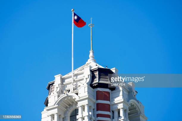 Taiwan's flag is seen on the tower of the Presidential Office in Taipei on January 13 as a planned trip to Taiwan by the United States' UN ambassador...