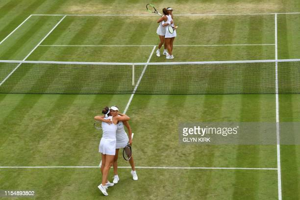 TOPSHOT Taiwan's Hsieh SuWei and Czech Republic's Barbora Strycova celebrate after beating Belgium's Elise Mertens and Belarus's Aryna Sabalenka...