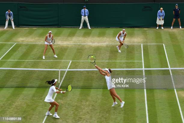 Taiwan's Hsieh SuWei and Czech Republic's Barbora Strycova return against Belgium's Elise Mertens and Belarus's Aryna Sabalenka during their women's...