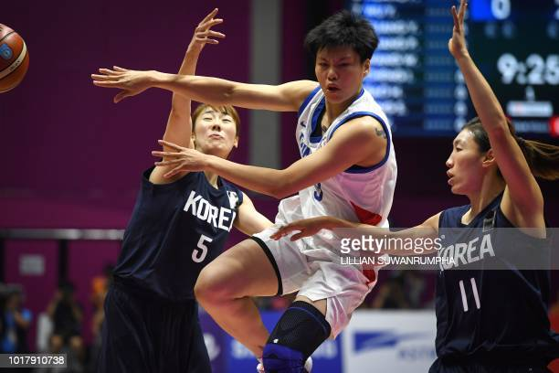 Taiwan's Huang Pingjen passes the ball next to Unified Korea's Lim Yunghui and Park Hyejin in the women's basketball preliminary group A match...