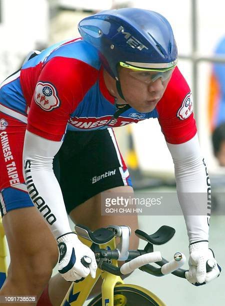 Taiwan's Lin Chih Hsan in full stride during the men's 1km time trial cycling event at the 14th Asian Games in Busan 04 October 2002 Lin set a new...