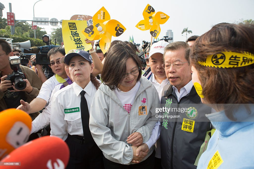 Taiwan's opposition leader Tsai Ing-wen shakes hands with one of her predessors, Frank Hsieh. Tsai will be the oppostion DPP presidential candidate in 2016 follwoing her unsuccessful bid in 2012. Hsieh was the candidate in 2008.