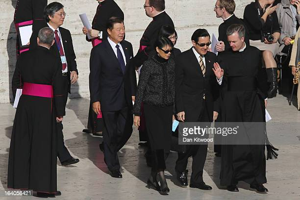 Taiwan's President Ma Yingjeou and his wife Chow Meichin arrive ahead of the Inauguration Mass for Pope Francis in St Peter's Square on March 19 2013...