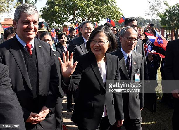 Taiwan's President Tsai Ingwen accompanied by Paraguayan Education Minister Enrique Riera visits the General Andres Rodriguez school to which the...