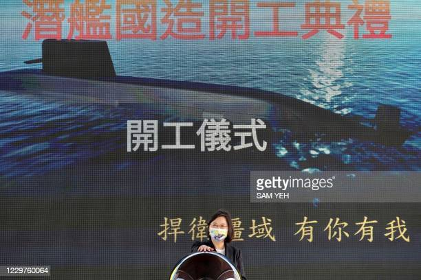 Taiwan's President Tsai Ing-wen attends a ceremony about the production of domestic-made submarines at a CSBC shipyard in Kaohsiung on November 24,...