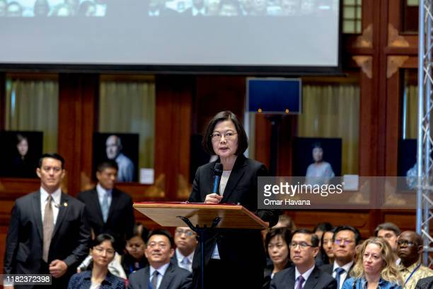 Taiwan's President Tsai Ingwen gives a speech during the opening ceremony of the congress of the International Federation of Human Rights at the Gran...