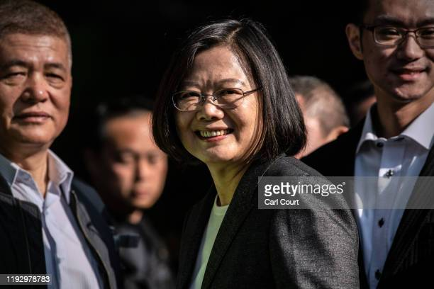 Taiwans President Tsai Ing-wen smiles as she leaves after casting her vote in the presidential election on January 11, 2020 in Taipei, Taiwan. Taiwan...