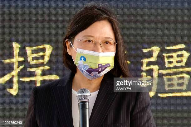Taiwan's President Tsai Ing-wen speaks during a ceremony about the production of domestic-made submarines at a CSBC shipyard in Kaohsiung on November...