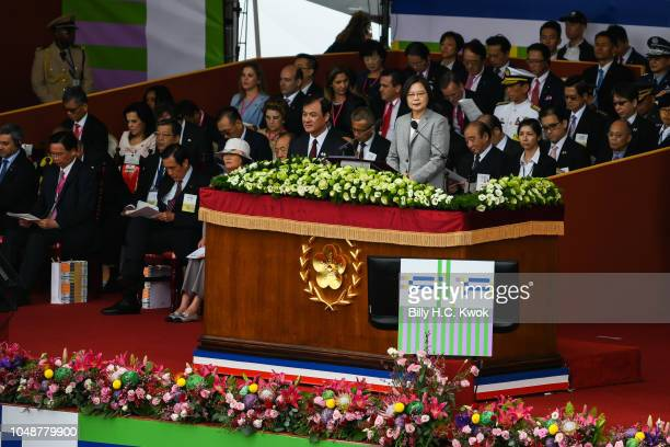 Taiwan's President Tsai Ingwen speaks during National Day celebrations in front of the Presidential Palace on October 10 2018 in Taipei Taiwan Taiwan...