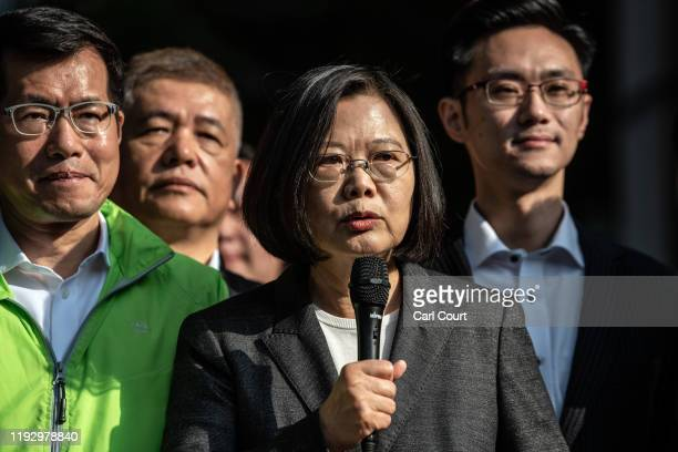 Taiwans President Tsai Ing-wen speaks to the media after casting her vote in the presidential election on January 11, 2020 in Taipei, Taiwan. Taiwan...
