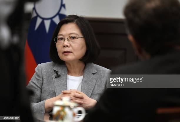 Taiwan's President Tsai Ing-wen takes part in an interview with AFP at the Presidential Office in Taipei on June 25, 2018. - Tsai on June 25 called...