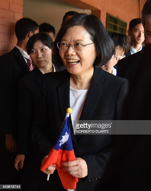 Taiwan's President Tsai Ingwen visits the General Andres Rodriguez school to which the country donated computers in Asuncion on June 29 2016 Taiwan's...