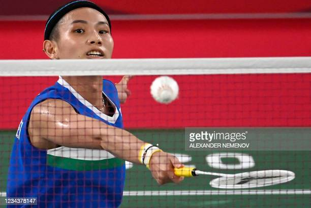 Taiwan's Tai Tzu-ying hits a shot to China's Chen Yufei in their women's singles badminton final match during the Tokyo 2020 Olympic Games at the...