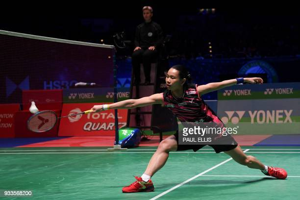 Taiwan's Tai Tzuying returns against Japan's Akane Yamaguchi in the women's singles final at the All England Open Badminton Championships in...