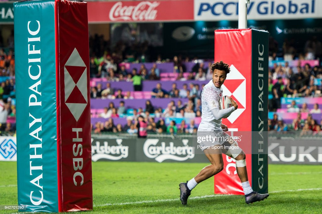 Taiye Ryan Olowofela of England in action during their Pool C match between England and Scotland as part of the HSBC Hong Kong Rugby Sevens 2018 on April 6, 2018 in Hong Kong, Hong Kong.