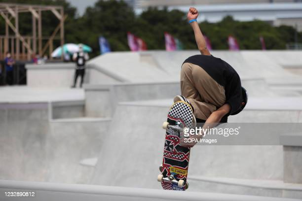 Taiyo Amano performs his routine during the READY STEADY TOKYO Skateboarding Test Event at Ariake Urban Sports Park in course of the preparations for...