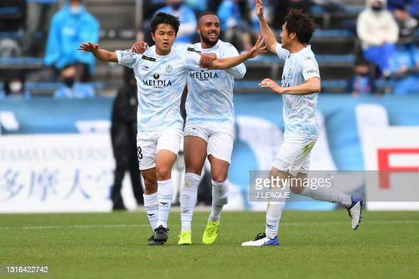 Taiyo HIRAOKA of Shonan Bellmare celebrates scoring his side's first goal during the J.League YBC Levain Cup Group C match between Yokohama FC and...
