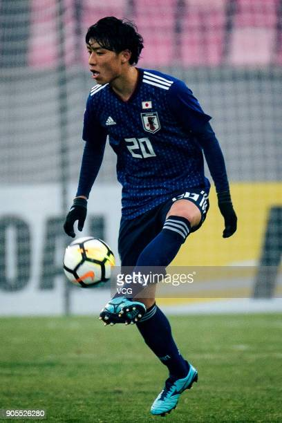 Taiyo Koga of Japan kicks the ball during the AFC U23 Championship Group B match between Japan and North Korea at Jiangyin Stadium on January 16 2018...