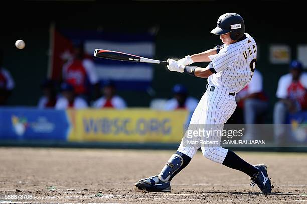 Taiyo Ueda of Japan fouls off a ball in the bottom half of the second inning in the final between Japan and Cuba during The 3rd WBSC U-15 Baseball...