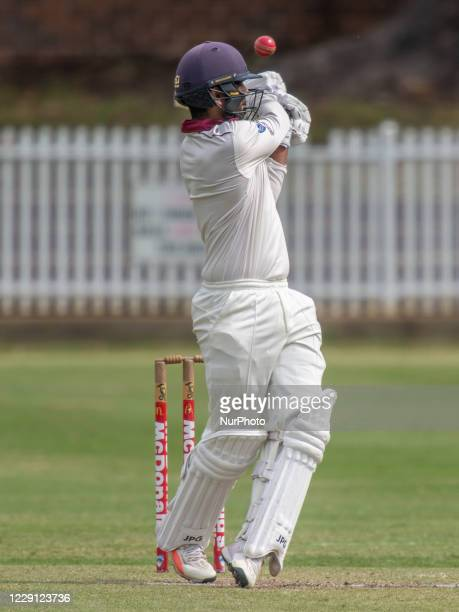 Taj Brar of the Gordon Cricket Club bats during day one of the NSW Premier Cricket first grade round 3 match between Western Suburbs and Gordon...