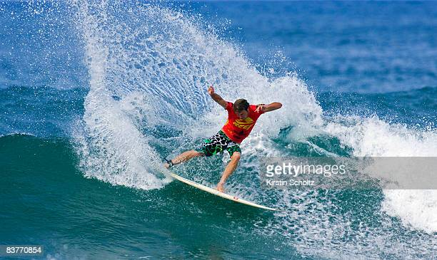 Taj Burrow of Australia competes in the Vans Triple Crown Of Surfing event the Reef Hawaiian Pro on at Ali'i Beach Park on November 20 2008 in...