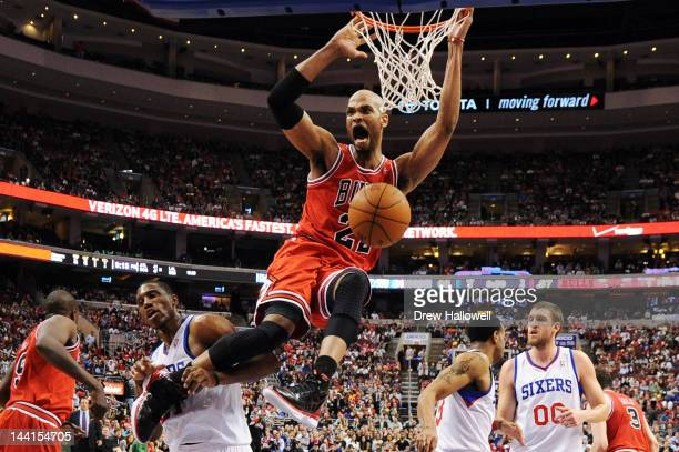 Taj Gibson of the Chicago Bulls dunks during the game against the Philadelphia 76ers in Game Six of the Eastern Conference Quarterfinals in the 2012...