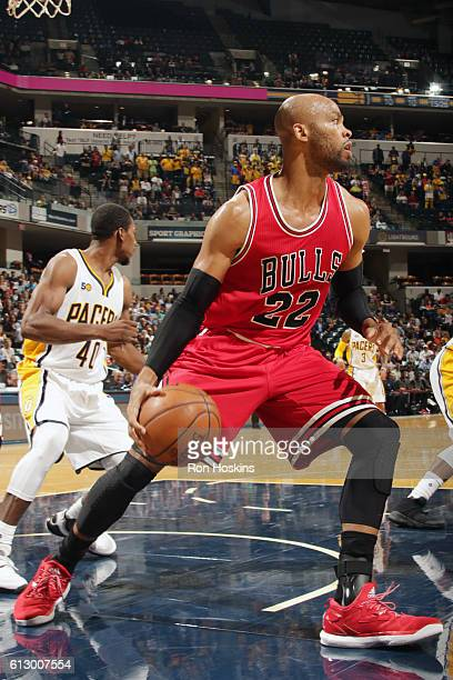 Taj Gibson of the Chicago Bulls handles the ball against the Indiana Pacers during a preseason game on October 6 2016 at Bankers Life Fieldhouse in...