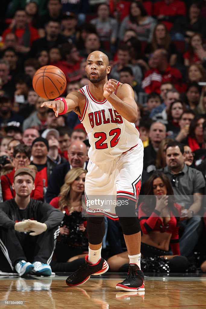 Taj Gibson #22 of the Chicago Bulls passes the ball against the Indiana Pacers on March 23, 2013 at the United Center in Chicago, Illinois.