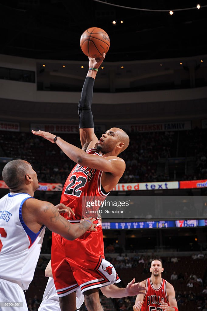 Taj Gibson #22 of the Chicago Bulls shoots against the Philadelphia 76ers during the game on March 20, 2010 at the Wachovia Center in Philadelphia, Pennsylvania.