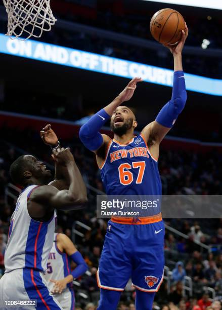 Taj Gibson of the New York Knicks takes a shot against Thon Maker of the Detroit Pistons during the first half at Little Caesars Arena on February 8...